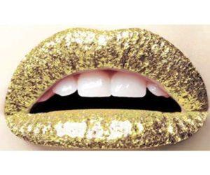 Gold Glitzer Lippen