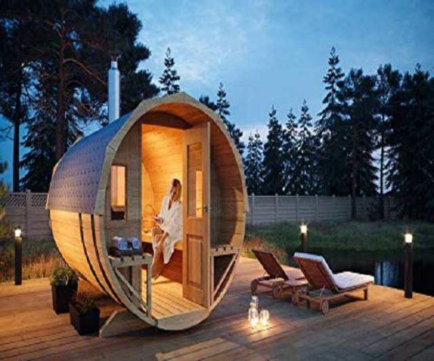 Fass Sauna FinnTherm mit Holzofen