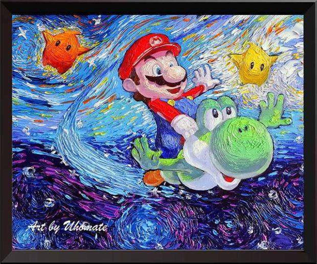 Super Mario Bros Vincent van Gogh Leinwand Bild