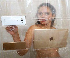 Wasserdichter Handy Telefon Tablet Duschvorhang